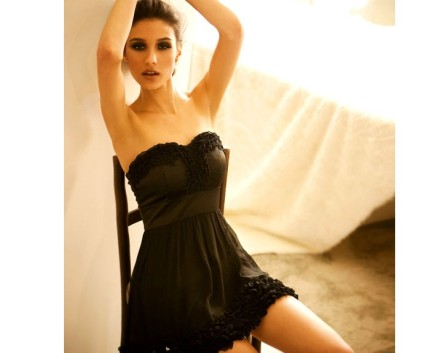 Elegant Off Shoulder Frills Design Dress Black
