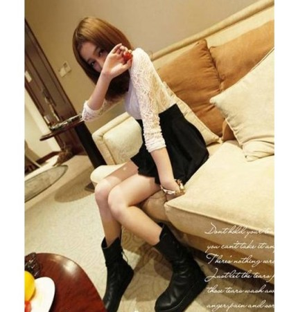 Fashion Lace Color Block Long Sleeve Dress