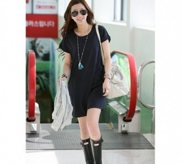 Fashion High Quality Round Collar Pure Color Short Sleeve Dress Black