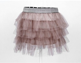 Fashion Lace Layered Beaded Expansion Skirt Khaki