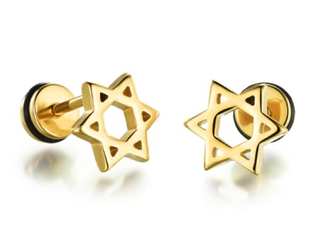 Star of David Design Stud Earrings Mens Gothic Stainless Steel Unisex Jewelry