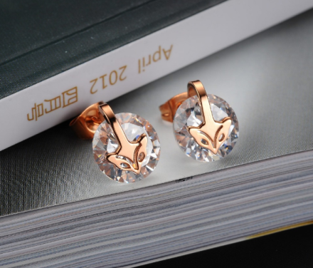 Korean Fox Design Zircon Stud Earrings Womens