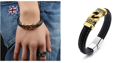 Mayan Style Rope Leather Bangles Mens Gold Plated Stainless Steel