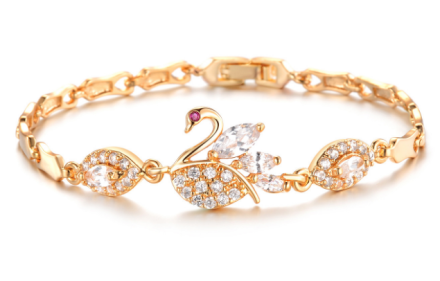 Luxury Shining Imitation Crystal Inlaid Swan Design Bracelets Womens