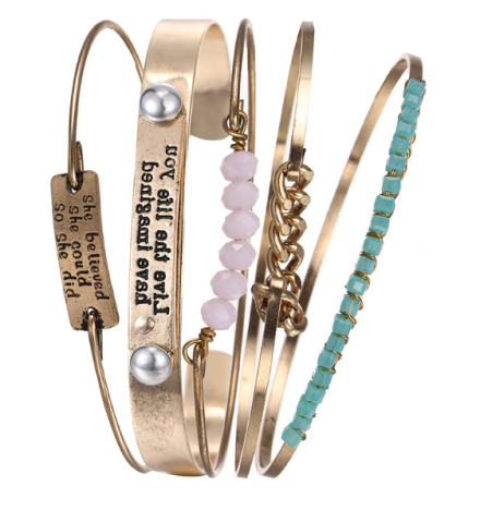 Bohemian Multilayer Stainless Steel Wrap Bangles Womens Write Words