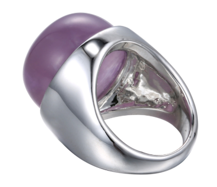 Simple Korean Purple Stone Rings Womens Silver Plated Alloy Big Rings