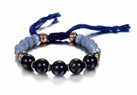 Classical Blue Imitation Crystal Stone Beads Strand Bracelets Womens