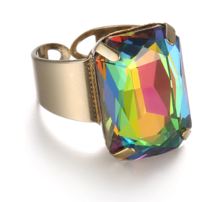 Vintage Style Multicolor Crystal Opal Inlaid Rings Womens Gold Plated