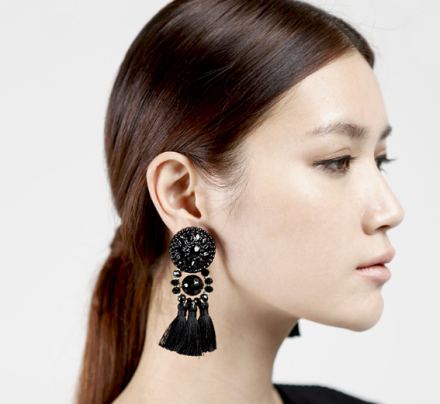 Bohemia Black Color Tassel Drop Earrings Womens Crystal Inlaid