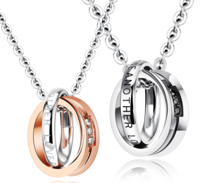 Romantic Round Double Rings Design Pendant Necklaces For Lovers