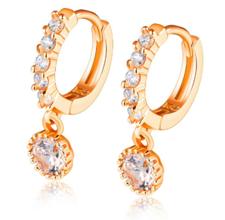 Trendy Anchor Design Hoop Earrings Womens Gold Plated Stainless Steel Wedding Jewelry