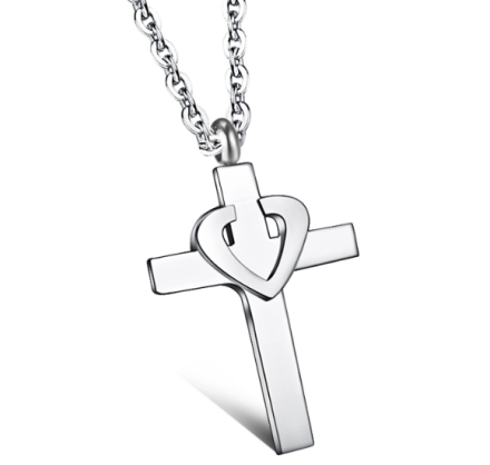 Classical Cross Heart Pendant Necklaces Womens Stainless Steel Jewelry