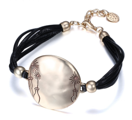 Simple Multilayers Black Rope Bracelets Womens Round Alloy Pendant With Flowers