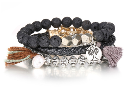 Ethnic Vintage Multilayers Colorful Beads Tassel Charm Bracelets Womens