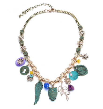 Bohemian Style Antique Green Alloy Charms Choker Necklaces Womens