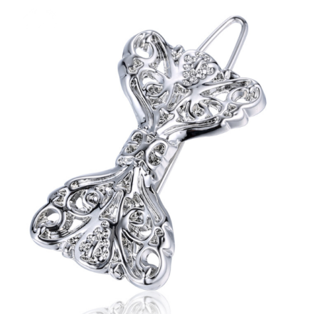 Chic Silver Plated Alloy Bowknot Design Barrettes Rhinestones Inlay Shiny Hair Jewelry
