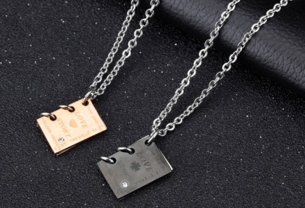 "Romantic"" Love Story''Book Design Pendant Necklaces For Lover Stainless Steel"