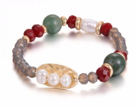 Bohemian Imitation Crystal Stone Beads Strand Bracelets Womens Alloy Pendant