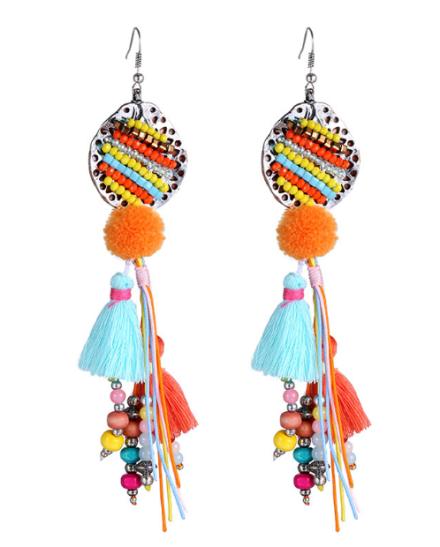 Bohemian Colorful Small Beads Tassel Drop Earrings Womens Wood Beads Fashion Dangle Earrings