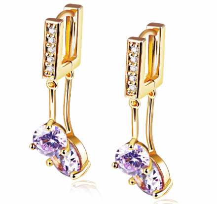 Fashion Imitation Purple Crystal Hoop Earrings Gold Plated Woman