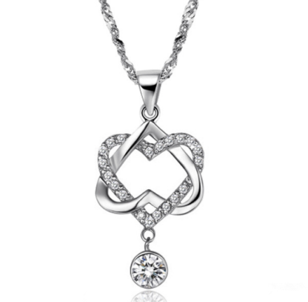 Romantic Double Hearts Pendant Necklaces Womens