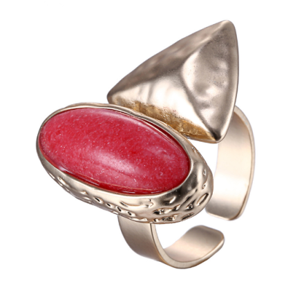 Vintage Big Red Stone Alloy Rings Womens Geometric Design Gold Plated
