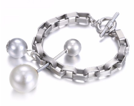 Minimalist Silver Plated Alloy Chain Bracelets Womens Imitation Pearls Hanging
