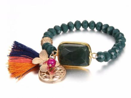 Bohemian Dark Green Imitation Crystal Beads Strand Bracelets Womens Big Green Stone