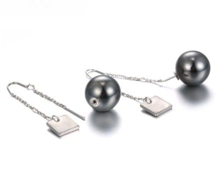 European Fashion Small Round Ball Long Chain Earrings Womens