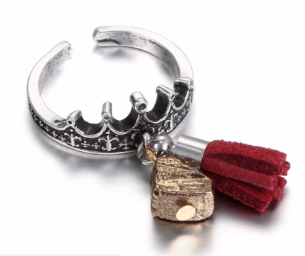 Vintage Antique Silver Plated Crown Design Rings Womens