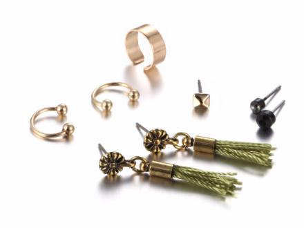One Set Fashion Tassel Stud Earrings Womens