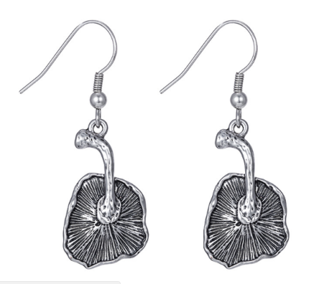Classical Ancient Silver Plated Alloy Drop Earrings Plant Elements Mushroom