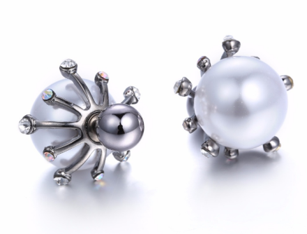 Romantic Silver Plated Alloy Flower Stud Earrings Inlay Imitation Pearl Rhinestones Shiny Earrings