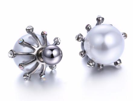 Romantic Silver Plated Alloy Flower Stud Earrings Inlay Imitation Pearl Rhinestones Shiny Earrings
