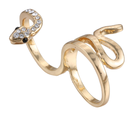 Personality Snake Design Rings Womens Gold Plated Alloy Rhinestones Inlay Spiral Girls Rings