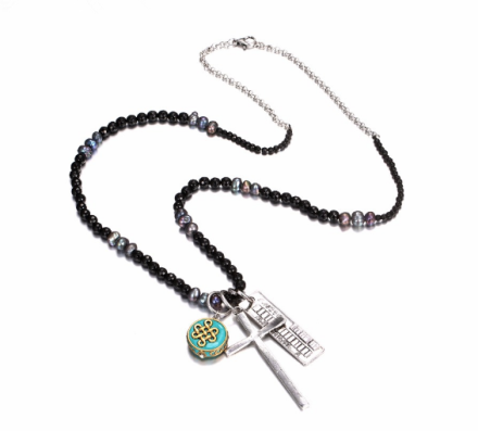 Classical Black Beads Long Necklaces Womens Alloy Cross&Chinese