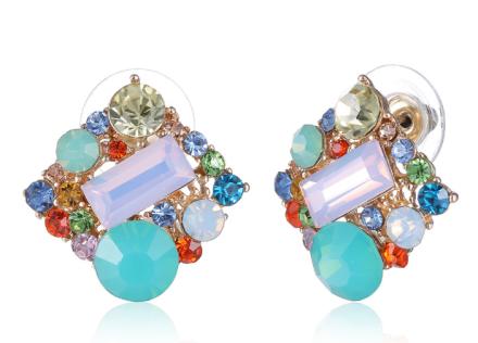 Fresh Colorful Geometric Square Shape Stud Earrings Womens