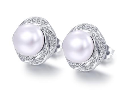 Korean Simulation Pearl Rose Design Stud Earrings Womens