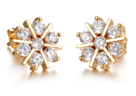 Romantic Snowflake Design Stud Earrings Gold Plated Cubic