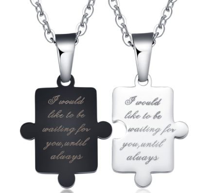 Romantic Letter Puzzle Couple Necklaces Stainless Steel