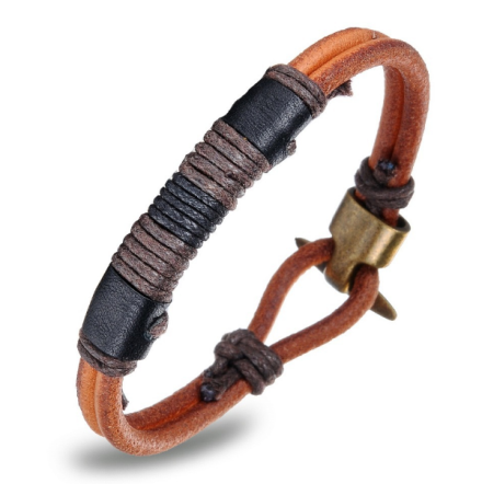 Vintage Double Layer Handmade Leather Bracelets Mens Stainless Steel