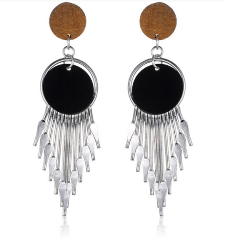 Vintage Ethnic Design Alloy Tassel Pendant Drop Earrings Womens