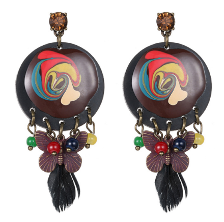 Ethnic Vintage Style Enamel Classical Pattern Drop Earrings Womens