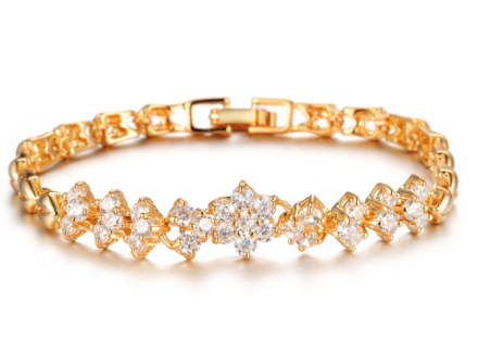 Korean Gold Plated Bracelets Womens Luxury White Stones